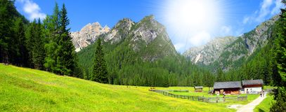 Sunny alpine valley. Valley in Dolomiti Mountains - Italy Europe Stock Images