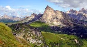 Sunny alpine valley. Alpine valley Dolomiti Mountain - Italy Europe Stock Photo