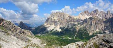 Sunny alpine valley. Alpine valley Dolomiti Mountain - Italy Europe Stock Photos