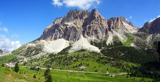 Sunny alpine valley. Alpine valley Dolomiti Mountain - Italy Europe Stock Photography