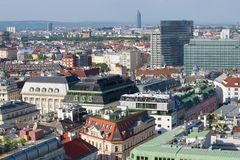 Sunny April day over the roofs of modern Vienna, Austria stock photo