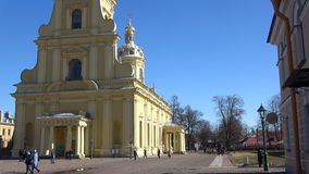 Sunny April day at the Peter and Paul Cathedral. Saint Petersburg stock video