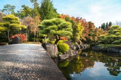 Sunny aspect of the Koko-en Gardens in Himeji, with beautiful and colorful trees in autumn in  Japan. Low angle view from the stone bridge over the pond at Koko stock images