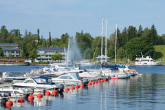 Sunny August day in the city harbor. Lappeenranta, Finland Royalty Free Stock Photo