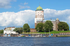 Sunny August day at the Vyborg Castle. Leningrad region, Russia Stock Images