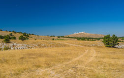 Sunny autumanl landscape on Ai-Petri mountain tableland. In Crimean peninsula royalty free stock images