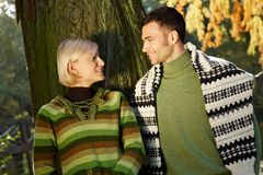 Sunny autumn couple portrait Royalty Free Stock Photography