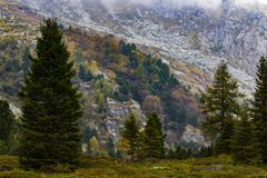 Sunny autumn day. Amazing view on italian mountains in a sunny autumn day royalty free stock images