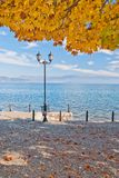 Sunny autumn day by The Lake Ohrid in Macedonia Royalty Free Stock Image
