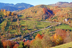 Sunny autumn day on mountain top Stock Images