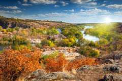 Sunny Autumn Day  - Panoramic view of the river Royalty Free Stock Photos