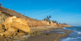 Sunny autumn day by the sea. Sunny autumn day on the seashore near the village of Fontanka, Odessa region, Ukraine stock image