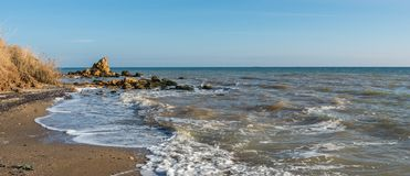 Sunny autumn day on the seashore. Near the village of Fontanka, Odessa region, Ukraine royalty free stock photo