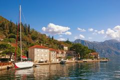 Sunny autumn day in the seaside town of Perast. Bay of Kotor, Mo Royalty Free Stock Image