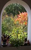 Sunny autumn day framed by an arched window royalty free stock photos