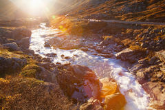 Sunny autumn at Gamle Strynefjellsvegen, National tourist road,. Norway Royalty Free Stock Photo