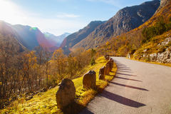 Sunny autumn at Gamle Strynefjellsvegen, National tourist road,. Norway Royalty Free Stock Images