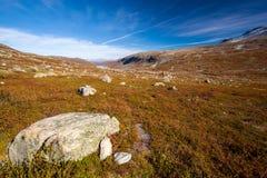 Sunny autumn landscape Norway Gamle Strynefjellsvegen Stock Images