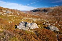 Sunny autumn landscape Norway Gamle Strynefjellsvegen Royalty Free Stock Photo