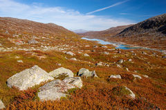 Sunny autumn landscape Norway Gamle Strynefjellsvegen Royalty Free Stock Photography
