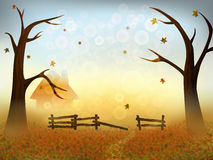 Sunny autumn landscape. Sunny autumn landscape of trees and fallen leaves. Place for your text. Vector illustration vector illustration