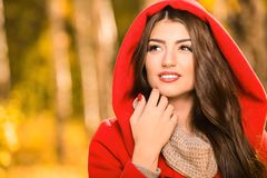 Sunny autumn mood. A portrait of a beautiful young woman in an autumn forest. Lifestyle, autumn fashion, beauty royalty free stock photography