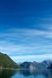 Sunny autumn in norwegian fjord Stock Images