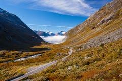 Sunny autumn road Norway Gamle Strynefjellsvegen Stock Photography