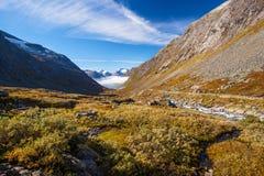 Sunny autumn view Norway Gamle Strynefjellsvegen Stock Images