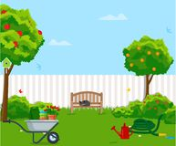 Sunny back yard with green lawn, fence, bench, fruit trees, bushes, flowers, birdhouse, hose, wheelbarrow. Vector. Vector illustration. Painted in shape stock illustration