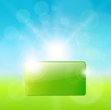 Sunny background. Sunny perfect day background, natural green with banner for text Royalty Free Stock Photo