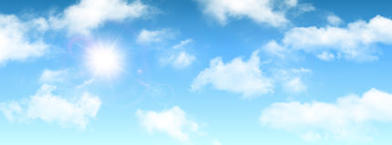 Sunny background, blue sky with white clouds and sun Royalty Free Stock Photos