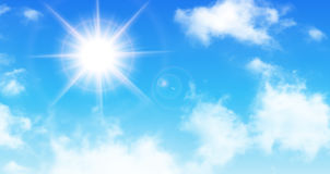 Sunny background, blue sky with white clouds and sun. Vector illustration Royalty Free Stock Photo