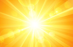 Sunny background. With bright sun and glare. Vector Stock Photos