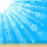 Sunny background. Bright sun shines on beach. Vector illustration Royalty Free Stock Image