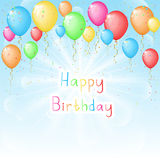 Sunny background with color balloons for Birthday Stock Photo