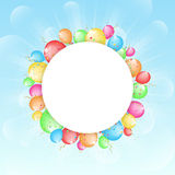 Sunny background with color balloons and with plac Stock Photo