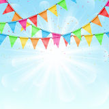 Sunny background with color flags Stock Photography