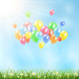 Sunny background with grass and balloons. Nature background with flying colored balloons, illustration Royalty Free Stock Photography