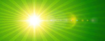 Sunny background, green sun with lens flare. Vector summer illustration Royalty Free Stock Photo