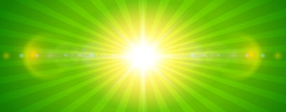 Sunny background, green sun with lens flare. Vector summer illustration Stock Image