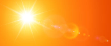 Sunny background, orange sun with lens flare. Vector summer illustration Stock Images