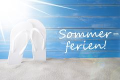 Sunny Background, Sommerferien Means Summer Holidays Royalty Free Stock Photo
