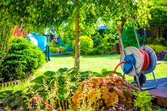 Sunny Backyard Garden Stock Photography