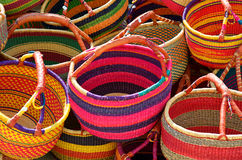 Sunny Baskets. Baskets in French Street Market Stock Photo