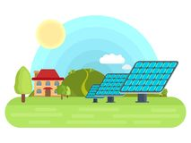 Sunny batteries on the field  flat illustration Royalty Free Stock Photos
