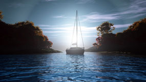 Sunny bay. Is 3d image whit sunset and the ship Royalty Free Stock Images