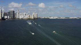 View at Miami`s embankment and sailing boats on blue sky background stock video