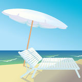 Sunny beach. Illustration of a sunny beach: view on the beach umbrella and white beach chair on the seashore Royalty Free Stock Photo