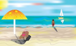 A sunny beach. A sunny beach, resting woman and child. Vector illustration royalty free illustration